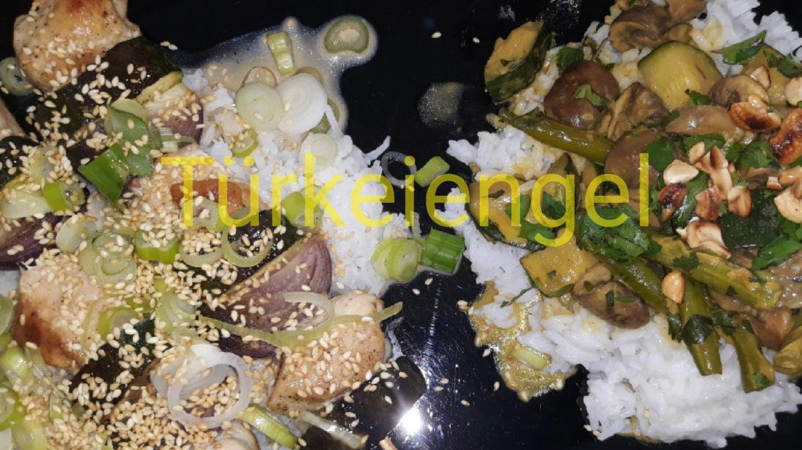 Hähnchen-Gemüse-Spieße   und Cremiges Gemüsecurry